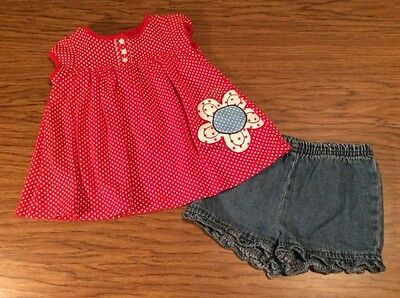 Infant girls size 6-12mo 2 piece outfit red white & blue Carter's & Circo
