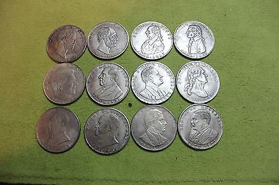 12-Tokens-Coins-Medals-Presidents-All Different-Dollar Size