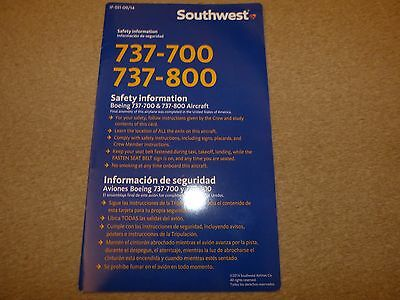 Southwest Airlines Boeing 737 700 / 800 Series Safety Card 09/2014