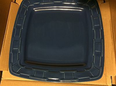 Set of 4 New Longaberger Woven Traditions Cornflower Blue Square Dinner Plates