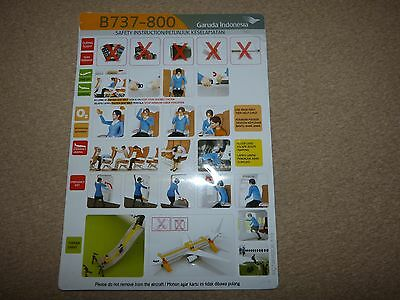 Garuda Indonesia Boeing 737 800 Series Safety Card Issue January 2013