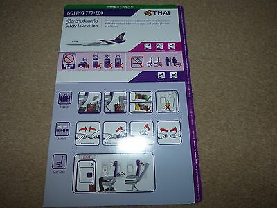 Thai Airways International Boeing 777 200 Series Safety Card August 2014
