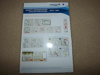 Malaysia Airlines Boeing 737 800 Series Safety Card Issue August 2013