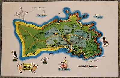 Map of Herm Island Colour Postcard PC Channel Islands CI Guernsey Tenant of Herm