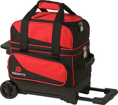 Ebonite Transport 1 Ball Roller Bowling Bag with Wheels Red