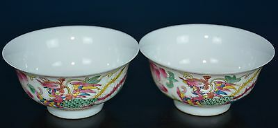 Fine Pair Of Antique Chinese Famille Rose Porcelain Bowls Rare S8361