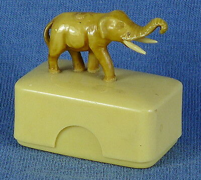 "1920s Vegetable Ivory 1.5"" Long Elephant Figurine & Keepsake Box"