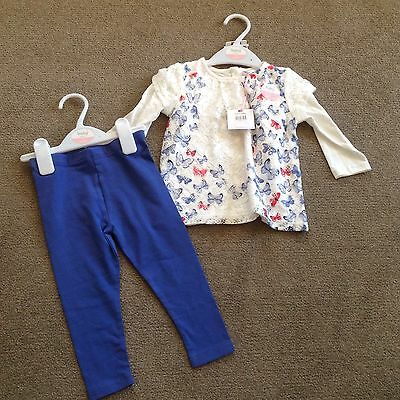 M&Co Brand New With Tags Top and Leggings Butterfly 6-9 Months