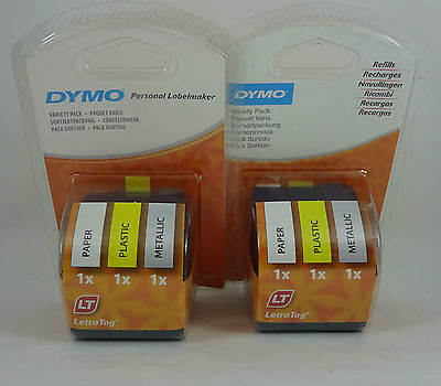 2x Genuine Dymo Letratag Refills Variety Pack - Paper, Plastic and Metallic