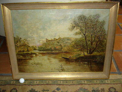 """Large Signed 1872 Oil on Canvas CASTLE on LAKE with SWANS """"B.L. Robinson"""""""