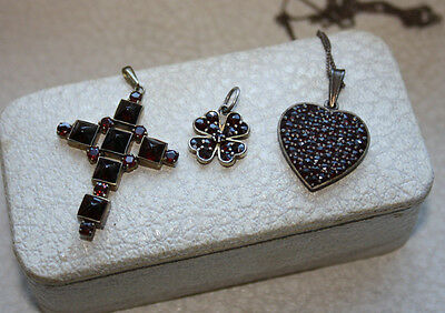 ca. 1900's-1930's LOT OF THREE ANTIQUE VICTORIAN BOHEMIAN GARNET PENDANTS