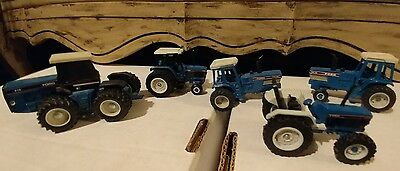 Lot of 6 Vintage Diecast Blue Ford Tractors-Nice!