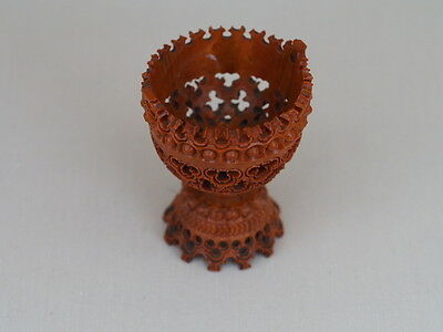 Vintage Hand Carved Coquilla Nut Decorative Antique Egg Cup