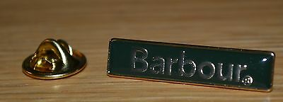 Barbour pin badge - Green With Gold Writing.