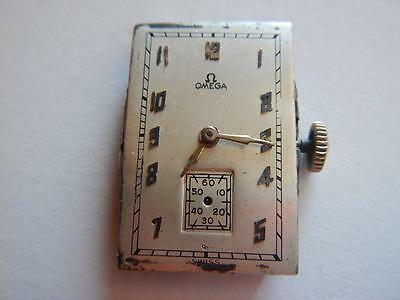 OMEGA 20F Watch Movement Dial & Hands  Vintage 1930's 17 Jewels
