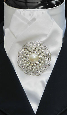 Ready Tied White or Cream Faux Silk Riding Stock with Pearl & Diamante Stock Pin