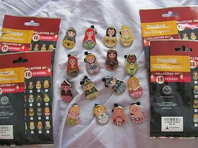 Disney Trading Pins Nesting Dolls - Mystery Pack complete set of 16 pins