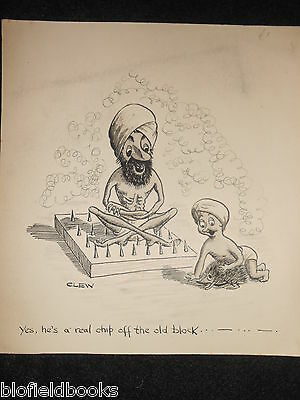 "CLIFFORD LEWIS ""CLEW"" Original Pen & Ink Cartoon - Indian Bed of Nails/Son #468"