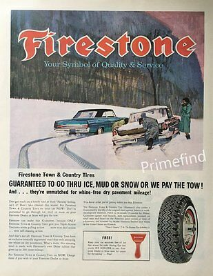1963 FIRESTONE Town & Country Tires Snow tire tracks Original PRINT AD