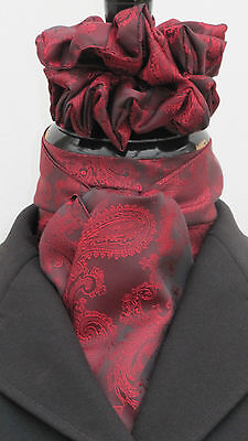 Russet Red Paisley Satin Ready Tied/Self Tie Riding/Dressage Stock Tie+Scrunchie