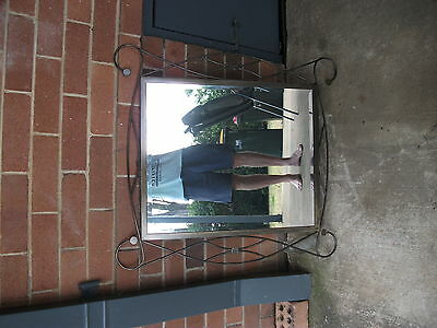 art deco style wall mirror wrought iron 790mm x 730