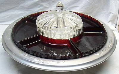 VINTAGE ANCHOR HOCKING OLD CAFE RUBY RED LAZY SUSAN 1930's - ALUMINUM TRAY