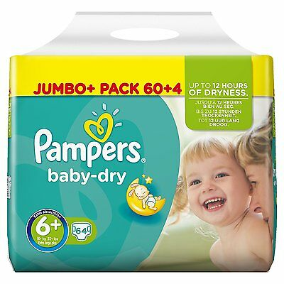 Pampers baby dry Jumbo Pack of 64 Nappies Size 6+ Extra Large Plus 16+ KG NEW