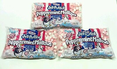 Lot of 3  KRAFT 10.0 oz bags Jet-Puffed  Peppermint Mallows Flavored Marshmallo