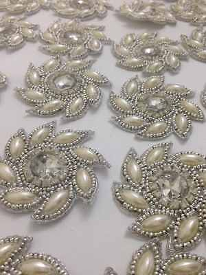 Pearl Silver Ivory Applique,Motif,edging,trim,sequins,beads (5.5cm Approx)