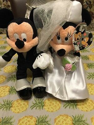 Disney Mickey Mouse And Minnie Mouse Wedding Plush Bride And Groom Brand New