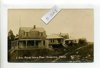 Kingston MA Mass RPPC real photo E. Ave Rocky Nook Park, cottages, 1914