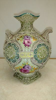 Antique ~Nippon~ ROYAL MORIYE Flower Hand Painted Heavy Moriage Bead Vase AS IS