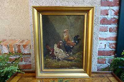 Vintage French Original Oil on Board Signed Painting Chicken Rooster Farmhouse