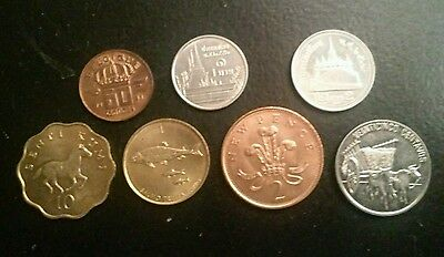 7 x Uncirculated World Coins