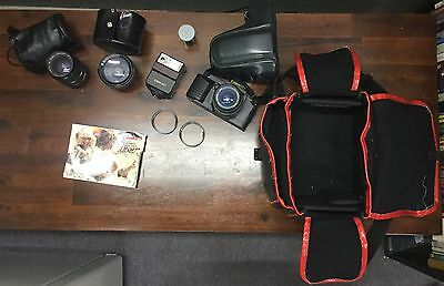 Vintage Canon T70 Film Camera And Lenses
