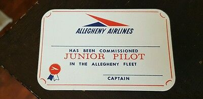 Vintage Allegheny Airlines Junior Pilot Commissioning ID card US Air ancestor