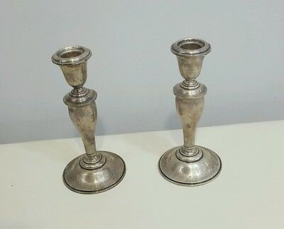 ANTIQUE PAIR OF GORHAM STERLING WEIGHTED CANDLESTICK HOLDERS No.-815/1 NICE