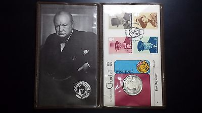 1974 United Kingdom Silver Medal First Day Cover - Winston Churchill