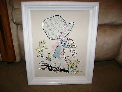 """Vintage Embroidered Holly Hobbie w/Cat Picture/Wall Hanging...14""""x16"""""""