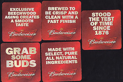 Collectable beer coasters -  Set of 5 assorted Budweiser beer coasters (USA)