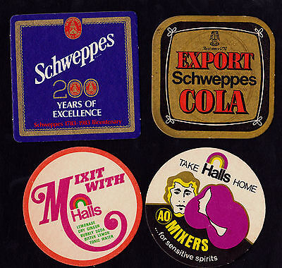 Collectable soft drink coasters -  Set of 7 Schweppes, Kirks & Halls coasters