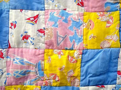 Vintage 1930's Trip Around the World crib baby quilt square patch quilt