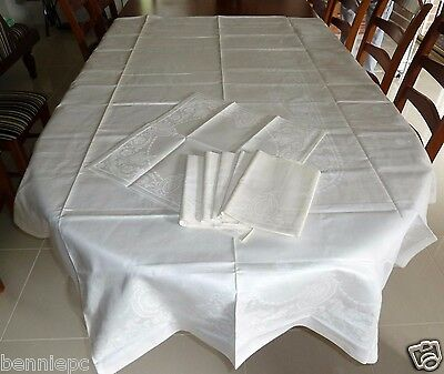 Antique Vintage Damask Pattern Tablecloth And Napkins Irish Linen Table Cloth