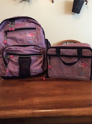 LL Bean Kids Child Youth Backpack Lunch Box Purple Flamingo EUC