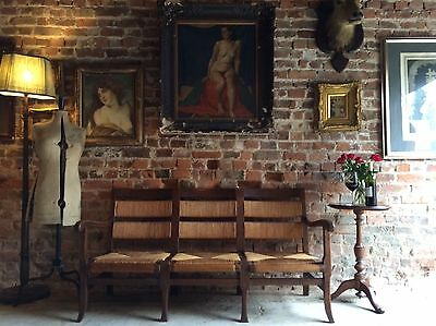 Stunning Antique Rush Bench French Solid Oak Early 20th Century Rustic Farmhouse