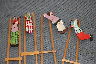 Lot 4 Vintage Painted Wooden Acrobat Clown String Motion Whirligig Toy
