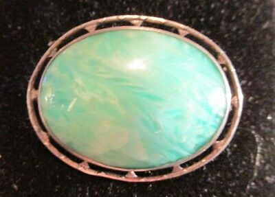 Vintage Adventurine & Sterling Silver Pin Brooch Pierced Double Ring Setting