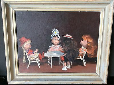 Vintage retro oil painting of dolls with distressed Gold Frame