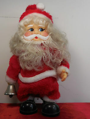 "Vintage Retro Mechanical Toy 70s Walking 10"" Santa Claus Christmas Bell"