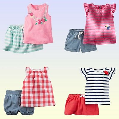 NWT Carter's Baby/Toddler Girls' Tank Top & Shorts or Skort 2 Piece Set Outfit